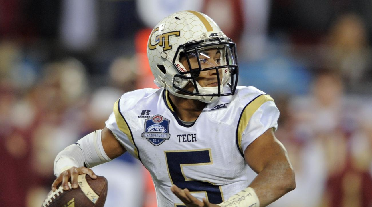FILE - In this Dec. 6, 2014, file photo, Georgia Tech quarterback Justin Thomas looks to pass against Florida State during the first half of the Atlantic Coast Conference championship NCAA college football game in Charlotte, N.C. Thomas has a bunch of new