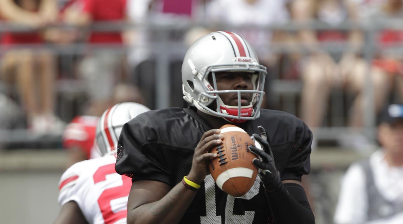 Ohio State quarterback Cardale Jones during Ohio State's NCAA college football Spring game Saturday, April 18, 2015, in Columbus, Ohio. (AP Photo/Jay LaPrete)