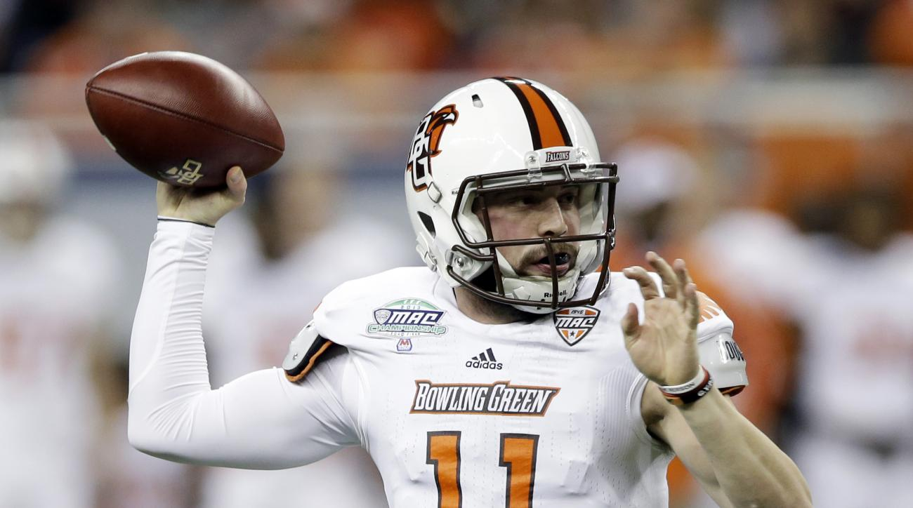 FILE - In this Dec. 6, 2013, file photo, Bowling Green quarterback Matt Johnson throws during the first quarter of an NCAA college football game against Northern Illinois at the Mid-American Conference championship in Detroit. For the second straight year
