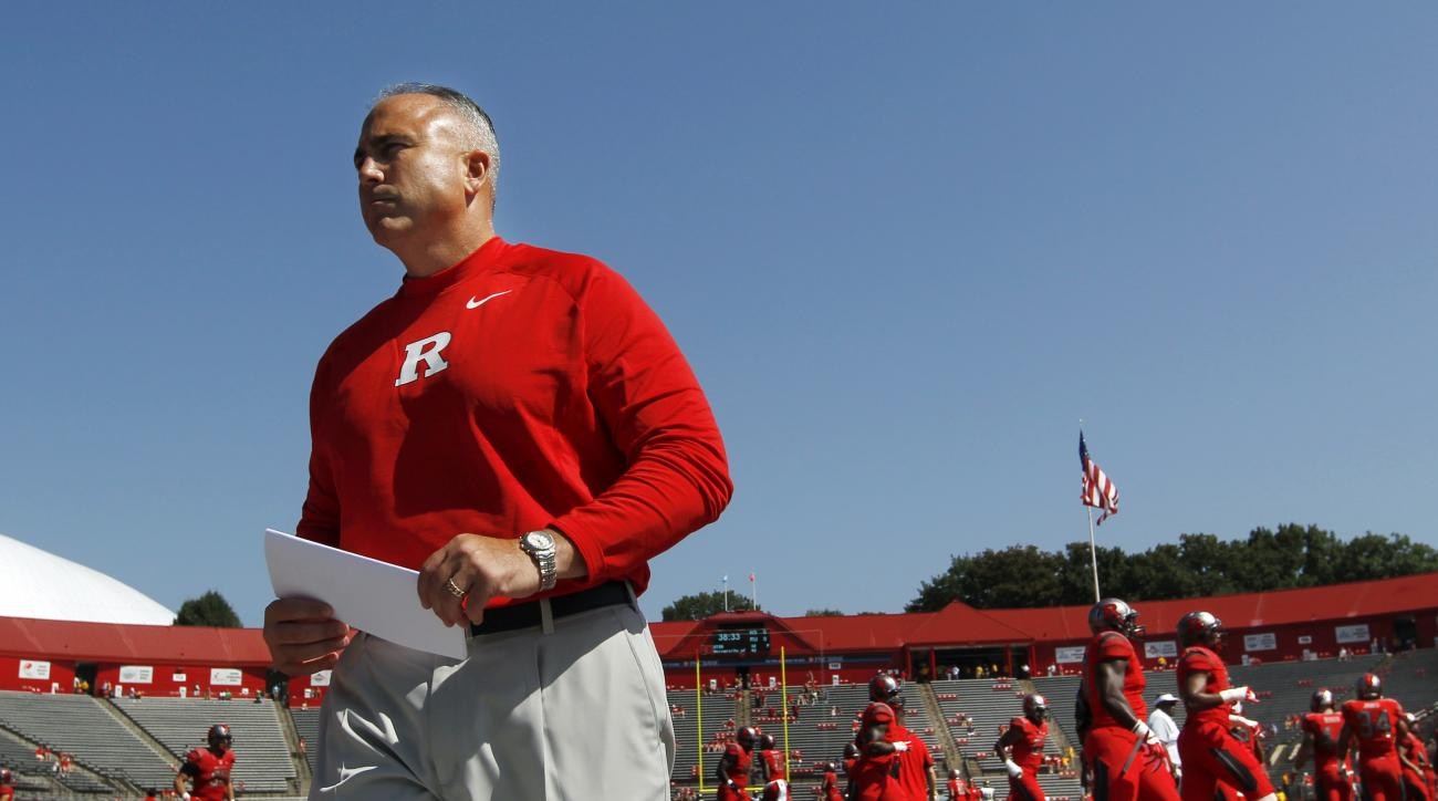Rutgers head coach Kyle Flood walks on the field before an NCAA college football game against Norfolk State Saturday, Sept. 5, 2015, in Piscataway, N.J. (AP Photo/Mel Evans)