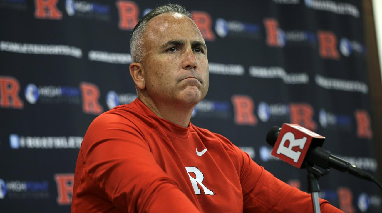 Rutgers head coach Kyle Flood listens to a question as he addresses the media after his team defeated Norfolk State, 63-13 in an NCAA college football game Saturday, Sept. 5, 2015, in Piscataway, N.J. Leonte Carroo caught three third-quarter touchdown pas