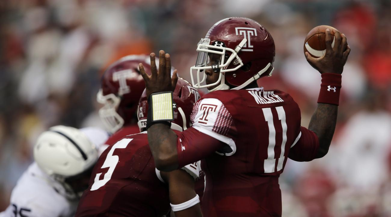 Temple's P.J. Walker passes during the first half of an NCAA college football game against the Penn State, Saturday, Sept. 5, 2015, in Philadelphia. (AP Photo/Matt Slocum)