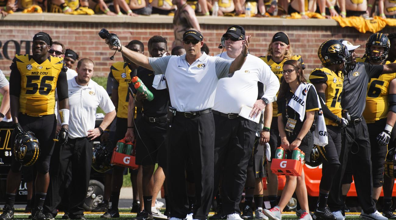 Missouri head coach Gary Pinkel argues a call during the first half of an NCAA college football game against Southeast Missouri State Saturday, Sept. 5, 2015, in Columbia, Mo. (AP Photo/L.G. Patterson)