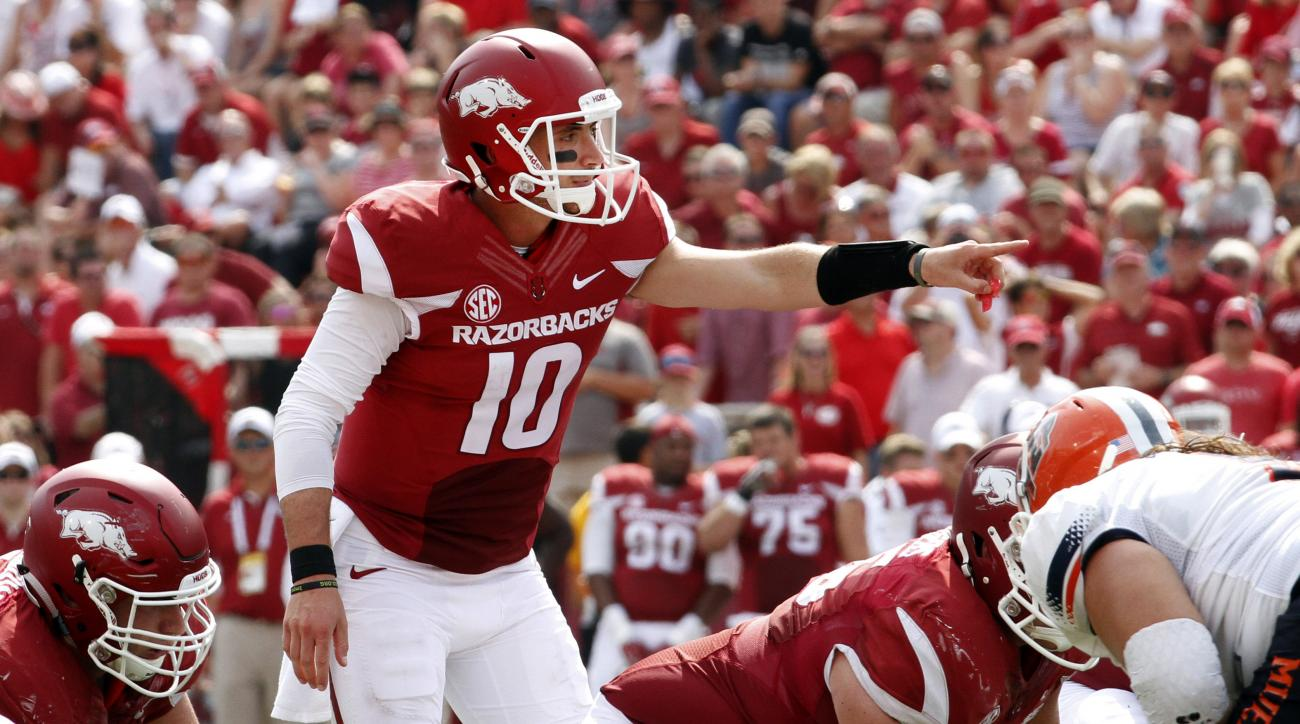 Arkansas' Brandon Allen calls out at the line of scrimmage during the first half of the NCAA college football game against UTEP in Fayetteville, Ark., Saturday, Sept. 5, 2015.   (AP Photo/Samantha Baker)