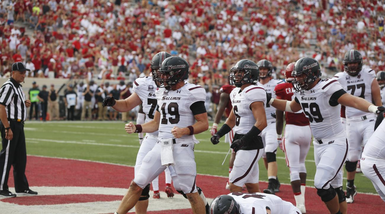 Southern Illinois' Mark Lannotti (19) celebrates scoring a touchdown against Indiana during an NCAA college football game Saturday, Sept. 5, 2015, in Bloomington, Ind. (Jeremy Hogan/The Herald-Times via AP) MANDATORY CREDIT
