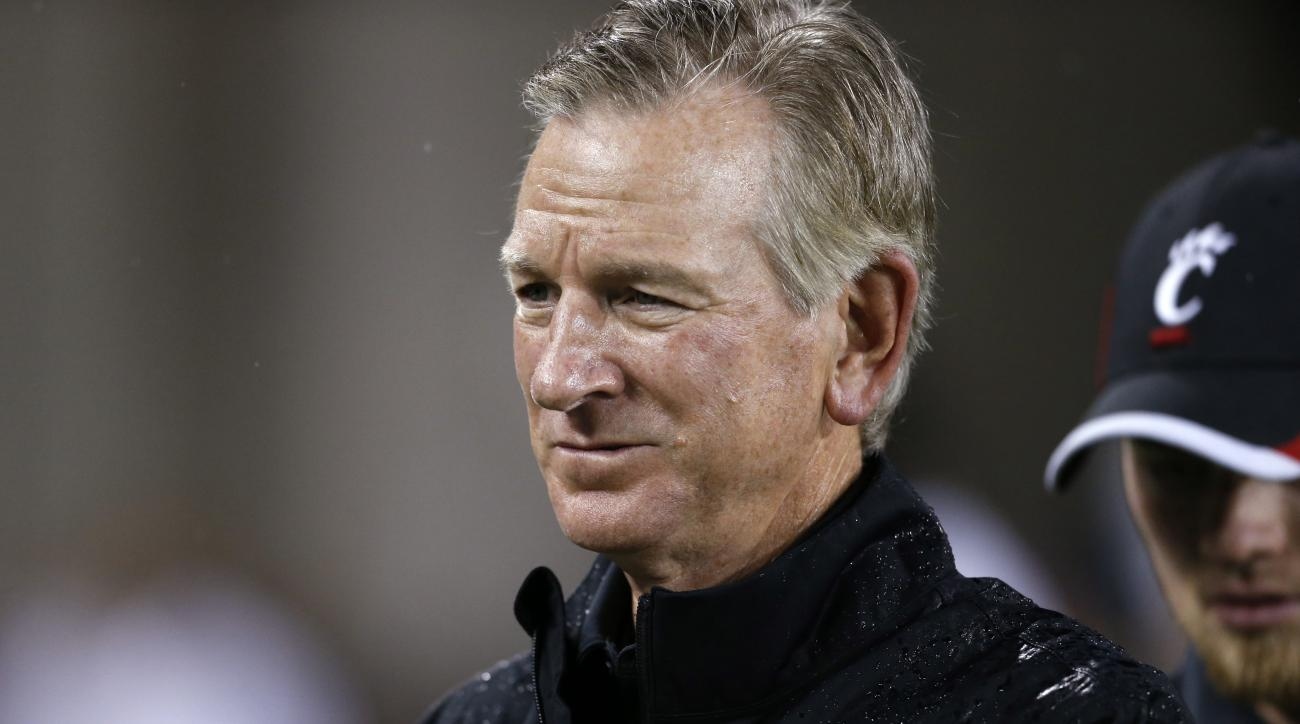Cincinnati head coach Tommy Tuberville stands on the sideline during the first half of an NCAA college football game against Alabama A&M, Saturday, Sept. 5, 2015, in Cincinnati. (AP Photo/Gary Landers)