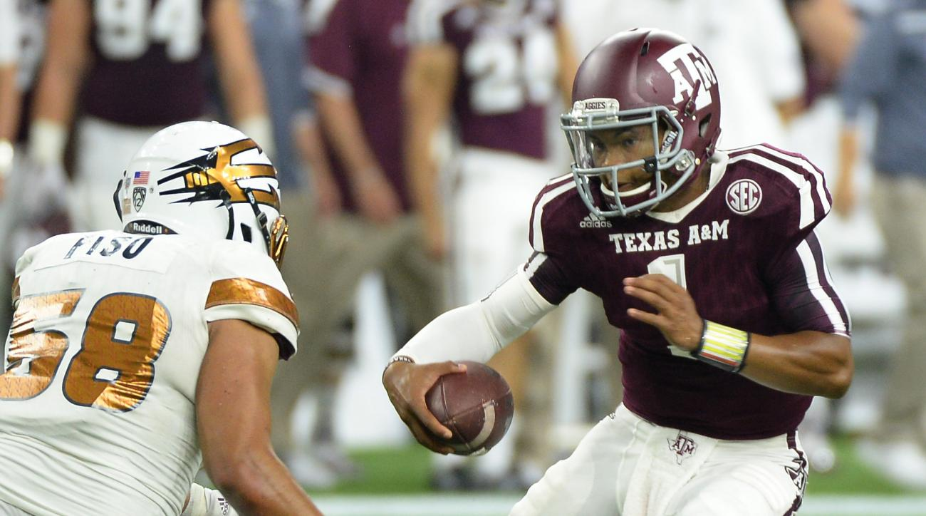 Texas A&M quarterback Kyler Murray (1) tries to elude Arizona State linebacker Salamo Fiso (58) in the second half of an NCAA college football game on Saturday, Sept. 5, 2015, in Houston. (AP Photo/George Bridges)