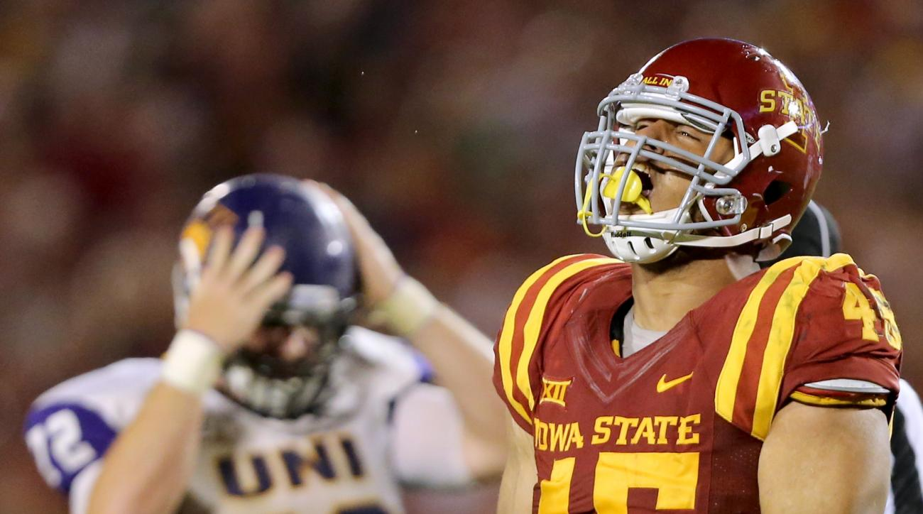 Iowa State defensive end Dale Pierson celebrates after sacking Northern Iowa quarterback Justin Black during the second half of an NCAA college football game, Saturday, Sept. 5, 2015, in Ames, Iowa. Iowa State won 31-7.(AP Photo/Justin Hayworth)