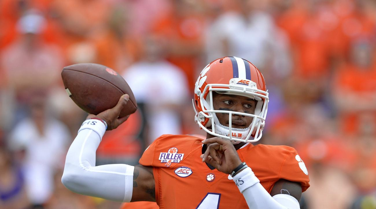 Clemson quarterback Deshaun Watson delivers a pass during the first half of an NCAA college football game against Appalachian State, Saturday,  Sept. 12, 2015,  in Clemson, S.C. (AP Photo/Richard Shiro)