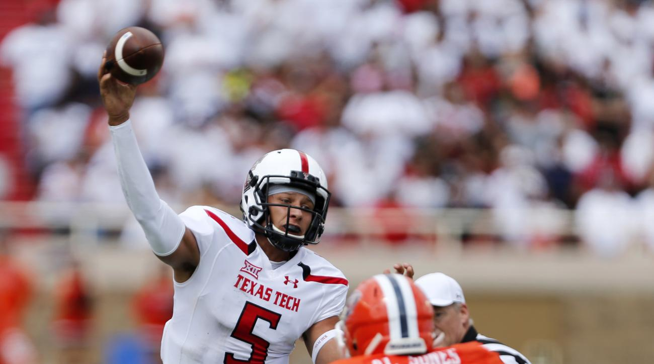 Texas Tech's quarterback Patrick Mahomes passes during an NCAA college football game against University of Texas at El Paso, Saturday, Sept. 12, 2015, in Lubbock, Texas. (Mark Rogers/Lubbock Avalanche-Journal via AP) ALL LOCAL TELEVISION OUT; MANDATORY CR