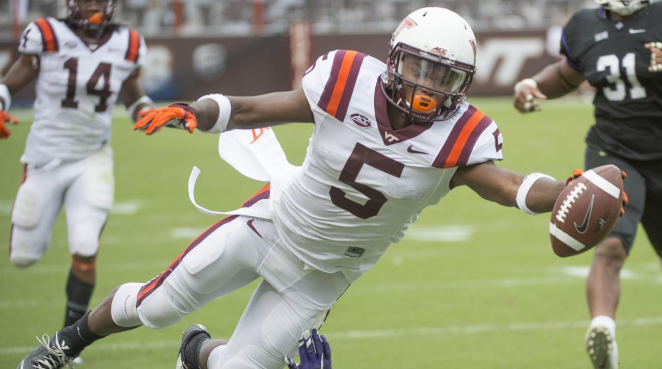 Virginia Tech's  Erikk Banks (5) tries to stay in bounds and score but falls short during the second half an NCAA college football game against Furman's Nick Miller, Saturday, Sept. 12, 2015, at Lane Stadium in Blacksburg, Va. Virginia Tech won 42-3. (Don