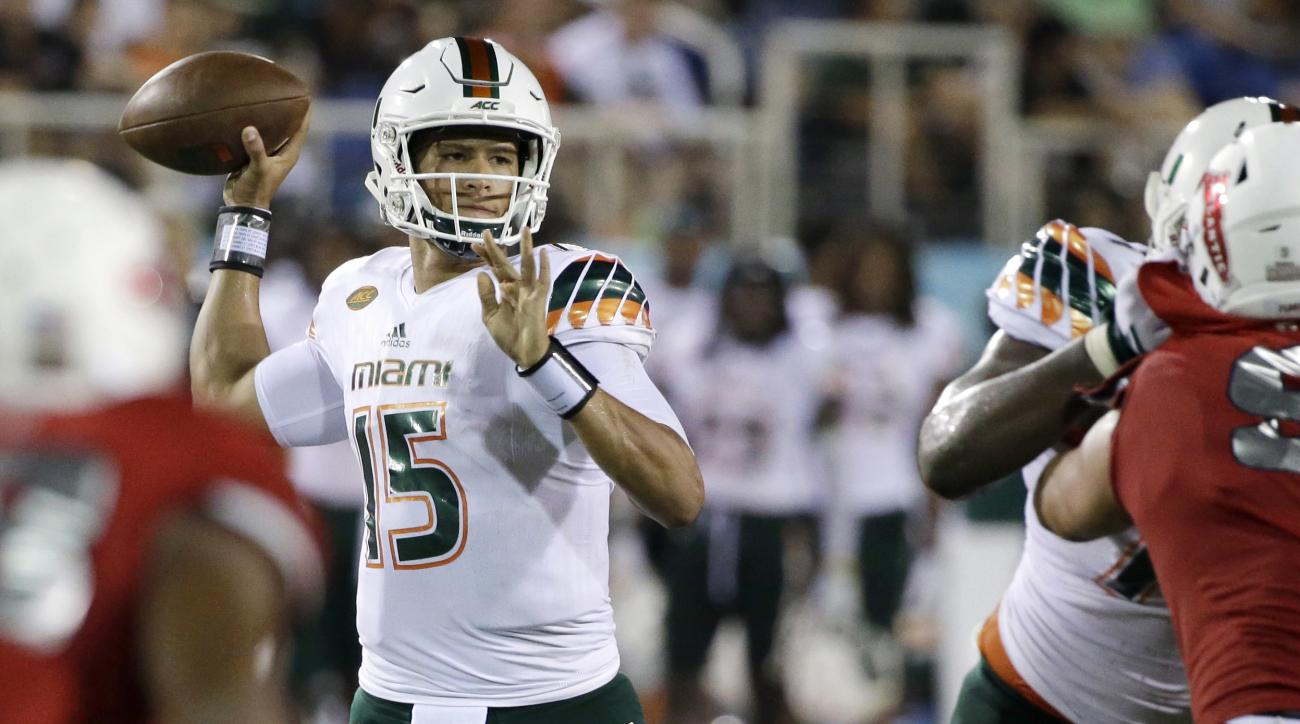 FILE - In this Friday, Sept. 11, 2015, file photo, Miami quarterback Brad Kaaya throws a pass during the second half of an NCAA college football game against Florida Atlantic in Boca Raton, Fla.  If Kaaya helps the Hurricanes beat Nebraska this weekend, i