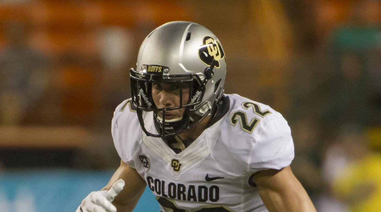FILE - In this Sept. 3, 2015, file photo, Colorado wide receiver Nelson Spruce (22) runs a pass route in the fourth quarter of an NCAA college football game, in Honolulu. Spruce became the school's all-time receptions leader last weekend. Now, he's hoping