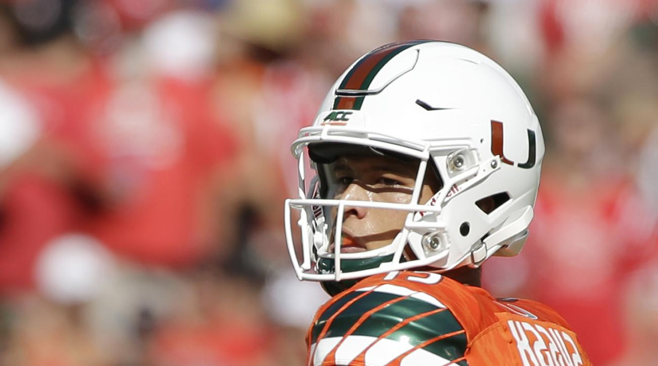 Miami quarterback Brad Kaaya passes during the first half of an NCAA college football game against Nebraska, Saturday, Sept. 19, 2015 in Miami Gardens, Fla. (AP Photo/Wilfredo Lee)