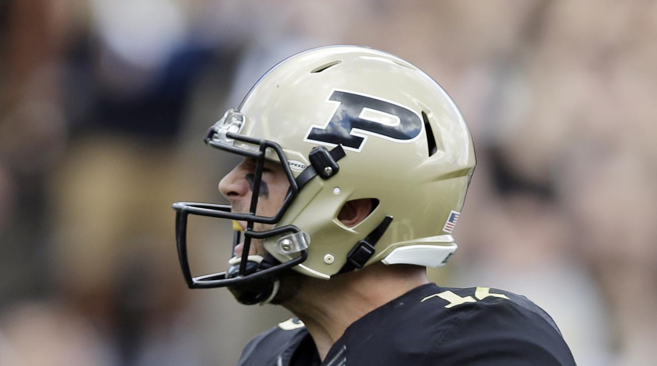Purdue's Austin Appleby celebrates after a two-yard touchdown run during the first half of an NCAA college football game against Virginia Tech, Saturday, Sept. 19, 2015 in West Lafayette, Ind. (AP Photo/Darron Cummings)