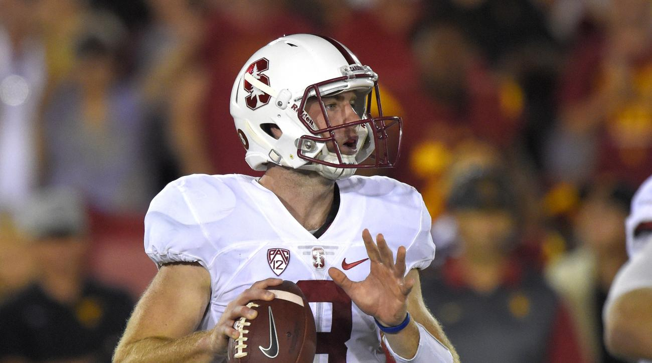 Stanford quarterback Kevin Hogan gets set to pass during the second half of an NCAA college football game against Stanford, Saturday, Sept. 19, 2015, in Los Angeles. Stanford won 41-31. (AP Photo/Mark J. Terrill)