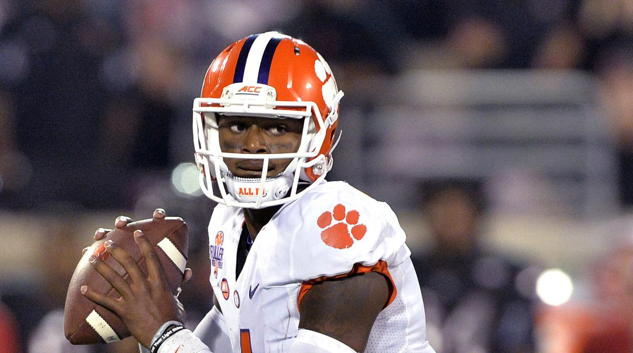 FILE - In this Sept. 17, 2015, file photo, Clemson quarterback Deshaun Watson looks for a receiver during the second half of an NCAA college football game against Louisville in Louisville, Ky. No. 11 Clemson's high-powered offense and Heisman hopeful Wats