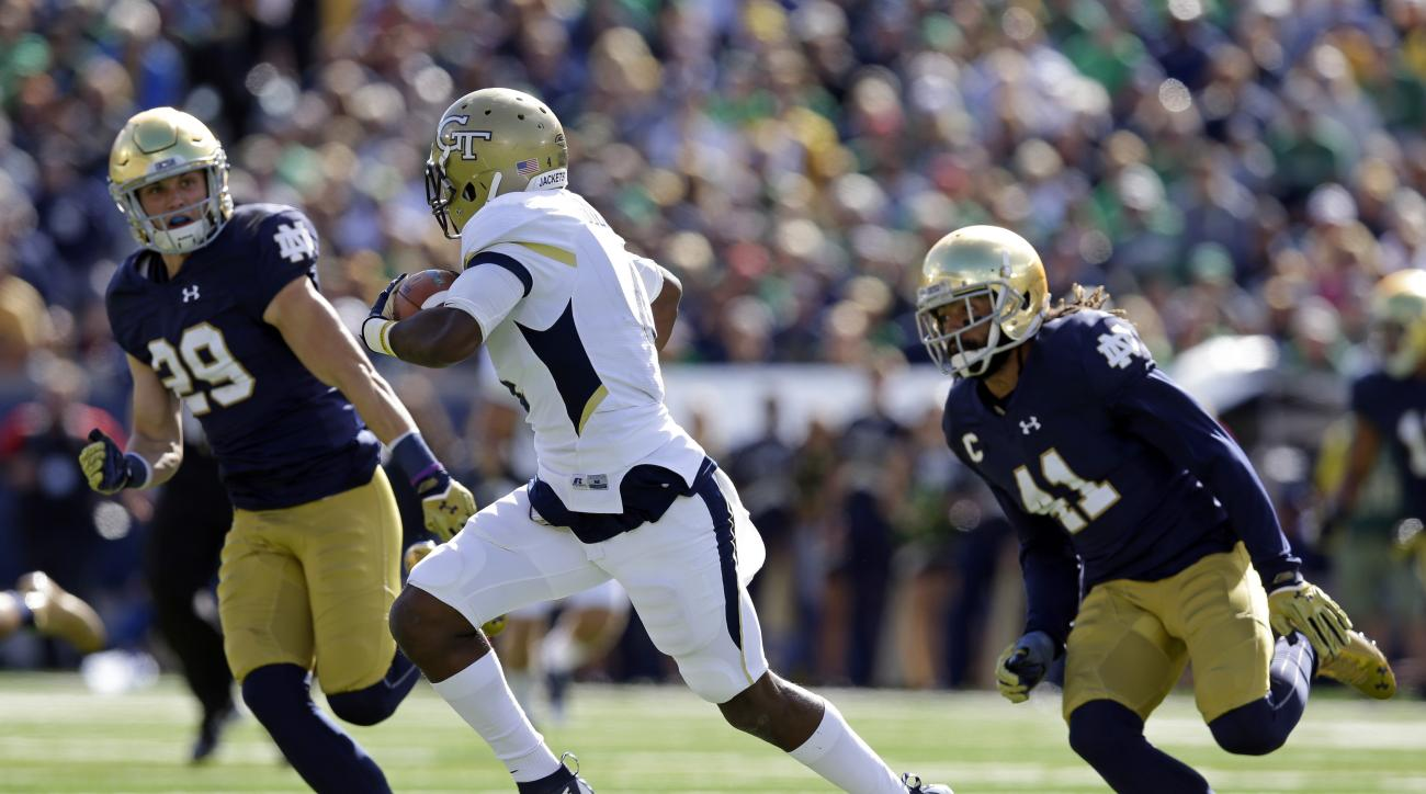 In this Saturday, Sept. 19, 2015, photo, Notre Dame cornerback Matthias Farley (41) and safety Nicky Baratti (29) chase Georgia Tech running back Brady Swilling (4) during the first half of an NCAA college football game in South Bend, Ind. Defensive back
