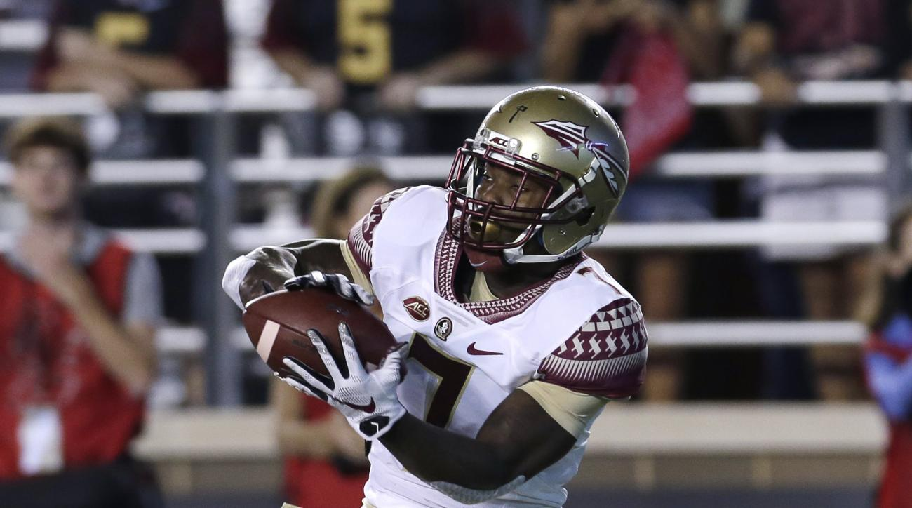 Florida State running back Mario Pender (7) makes a catch prior to an NCAA college football game in Boston, Friday, Sept. 18, 2015. (AP Photo/Charles Krupa)