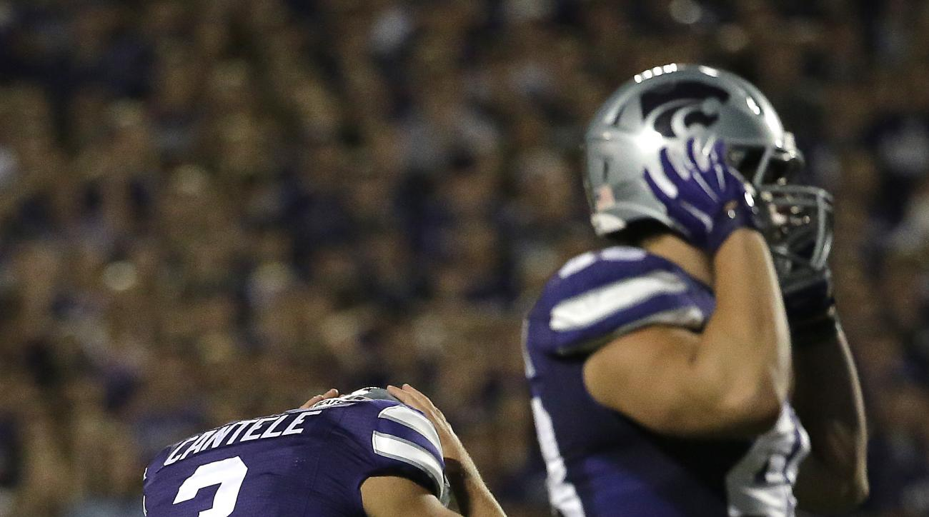 FILE - In this Sept. 18, 2014, file photo, Kansas State place kicker Jack Cantele (3) reacts after missing his third field goal of the game during the second half of an NCAA college football game against Auburn in Manhattan, Kan. In the year since the wor