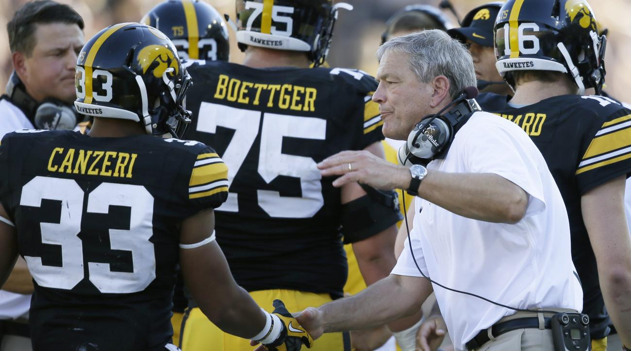 Iowa running back Jordan Canzeri (33) is greeted on the sideline by head coach Kirk Ferentz, right, after scoring on a 3-yard touchdown run during the first half of an NCAA college football game against North Texas, Saturday, Sept. 26, 2015, in Iowa City,
