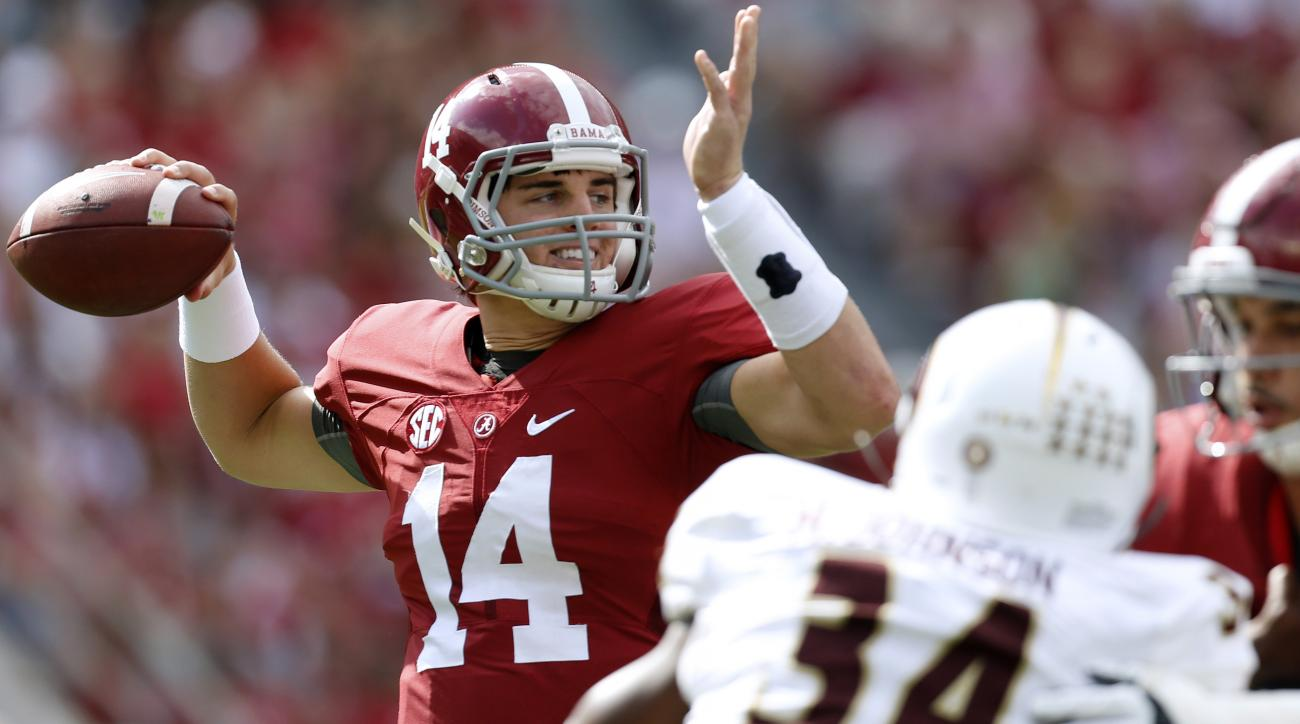 FILE - In this Sept. 26, 2015 file photo, Alabama quarterback Jake Coker (14) throws a pass during the first half of an NCAA college football game against Louisiana Monroe in Tuscaloosa, Ala. Alabama faces its first game in a hostile stadium on Saturday,
