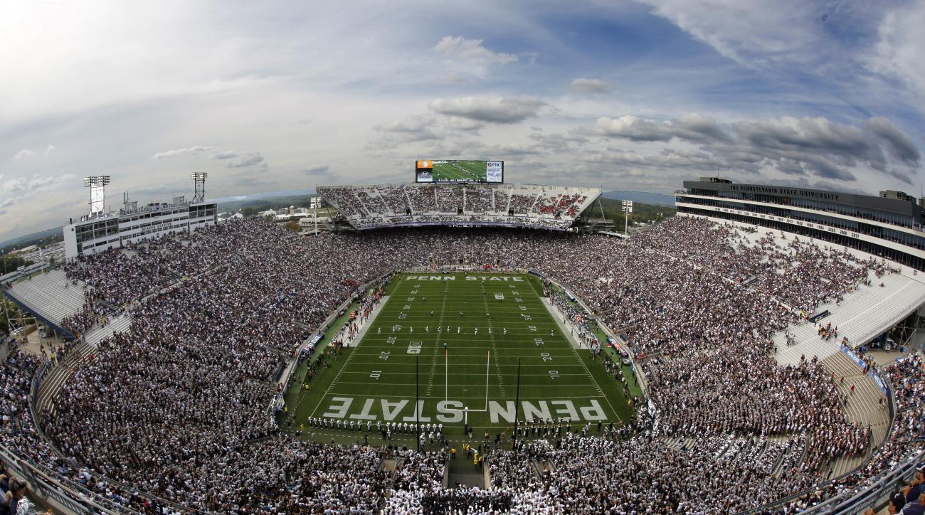 FILE - In this Saturday, Sept. 26, 2015, file photo, San Diego State kicks off to Penn State during the first half of an NCAA college football game at Beaver Stadium in State College, Pa. Penn State officials are seeking options to renovate or replace Bea