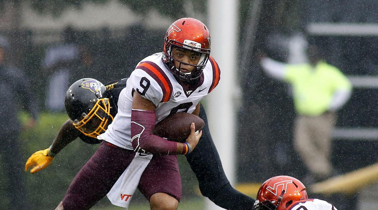 "FILE - In this Sept. 26, 2015, file photo, Virginia Tech's Brenden Motley (9) breaks away for a gain during the first half of an NCAA college football game against the East Carolina in Greenville, N.C. Motley was listed as an ""athlete"" coming out of high"