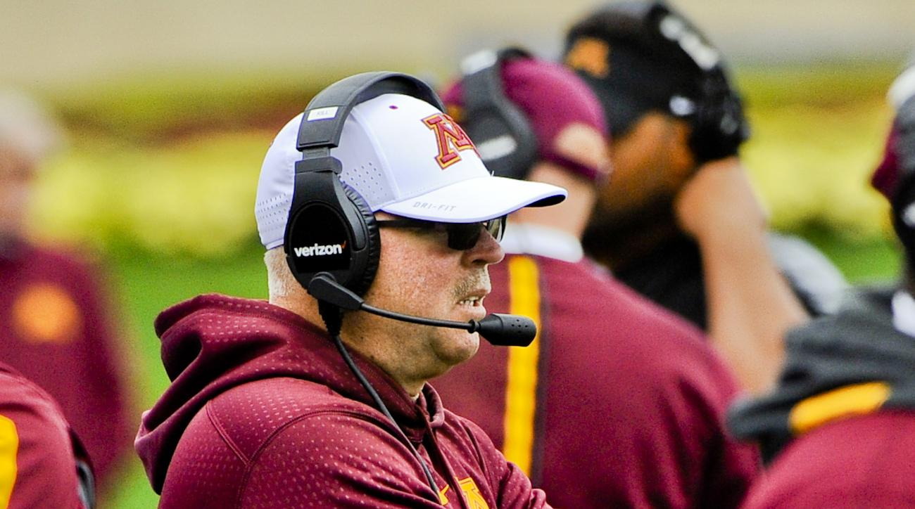 Minnesota head coach  Jerry Kill looks on during the second half of an NCAA college football game against Northwestern in Evanston, Ill.,  Saturday, Oct. 3, 2015. Northwestern won 27-0. (AP Photo/Matt Marton)