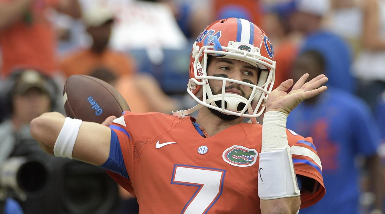 Florida quarterback Will Grier (7) warms up before an NCAA college football game against Mississippi Saturday, Oct. 3, 2015, in Gainesville, Fla. (AP Photo/Phelan M. Ebenhack)