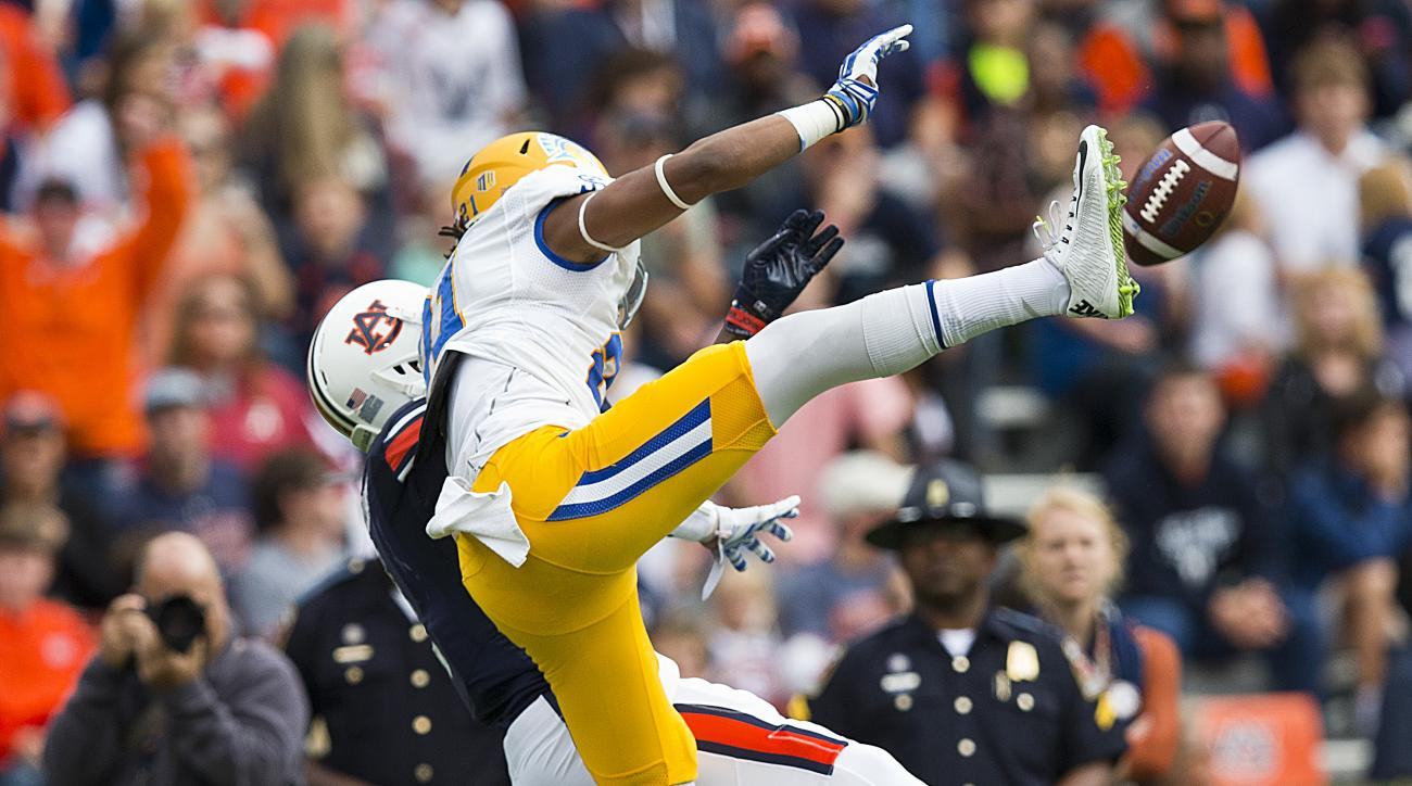 San Jose State cornerback Andre Chachere (21) blocks a pass intended for Auburn wide receiver D'haquille Williams (1) during the first half of an NCAA college football game, Saturday, Oct. 3, 2015, in Auburn, Ala. (AP Photo/Brynn Anderson)