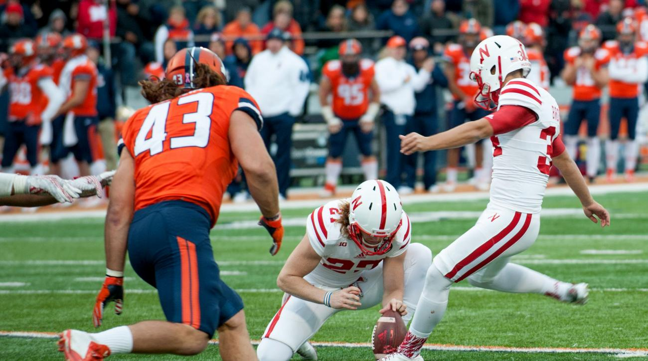 Nebraska place kicker Drew Brown (34) kicks a field goal during the second half of an NCAA college football game Saturday, Oct. 3, 2015, in Champaign, Ill.  Illinois won 14-13. (AP Photo/Bradley Leeb)