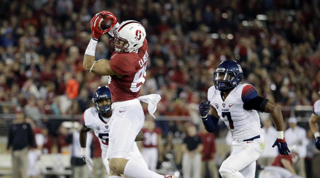 Stanford's Devon Cajuste, left, makes a catch in front of Arizona 's Jamar Allah (7) during the first half of an NCAA college football game Saturday, Oct. 3, 2015, in Stanford, Calif. (AP Photo/Marcio Jose Sanchez)