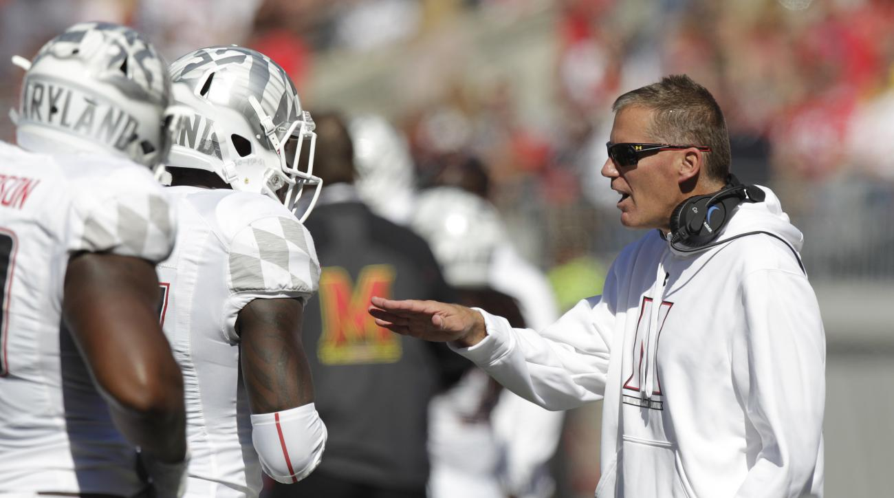 Maryland head coach Randy Edsall instructs his team against Ohio State during the second quarter of an NCAA college football game Saturday, Oct. 10, 2015, in Columbus, Ohio. Ohio State beat Maryland 49-28. (AP Photo/Jay LaPrete)