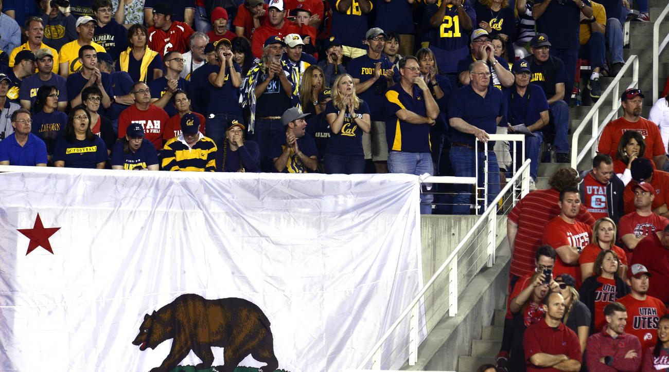 California and Utah fans cheer in the first half during an NCAA college football game Saturday, Oct. 10, 2015, in Salt Lake City. (Scott Sommerdorf/The Salt Lake Tribune via AP) DESERET NEWS OUT; LOCAL TELEVISION OUT; MAGS OUT; MANDATORY CREDIT