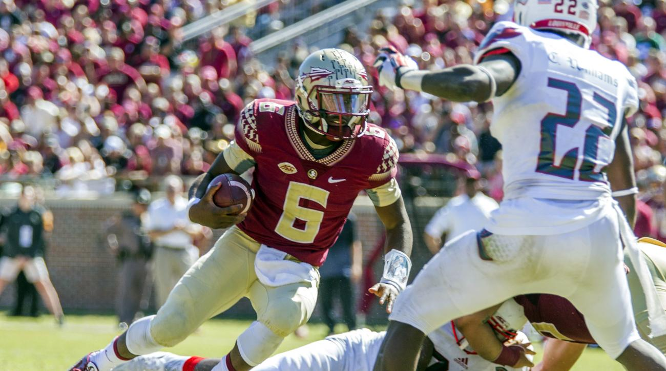 Florida State quarterback Everett Golson (6) scrambles in the second half of an NCAA college football game against Louisville in Tallahassee, Fla., Saturday, Oct. 17, 2015. Florida State defeated Louisville 41-21. (AP Photo/Mark Wallheiser) (AP Photo/Mark