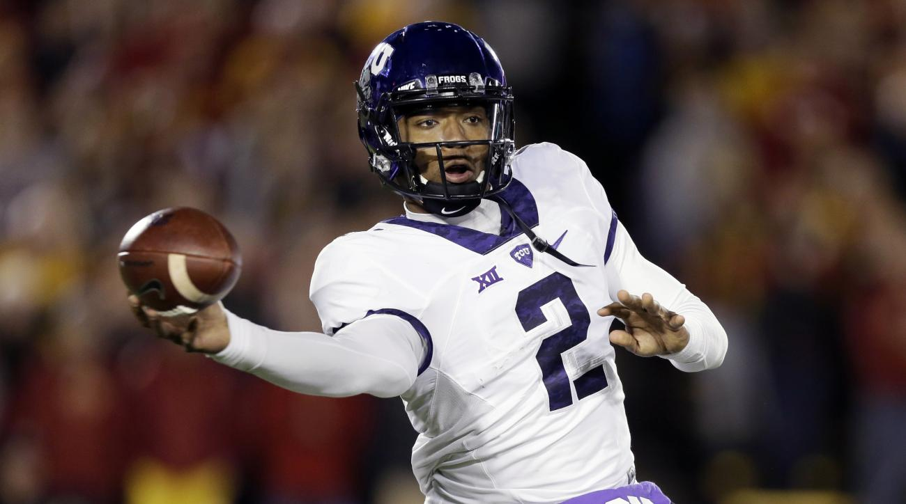 TCU quarterback Trevone Boykin throws a pass during the first half of an NCAA college football game against Iowa State, Saturday, Oct. 17, 2015, in Ames, Iowa. (AP Photo/Charlie Neibergall)