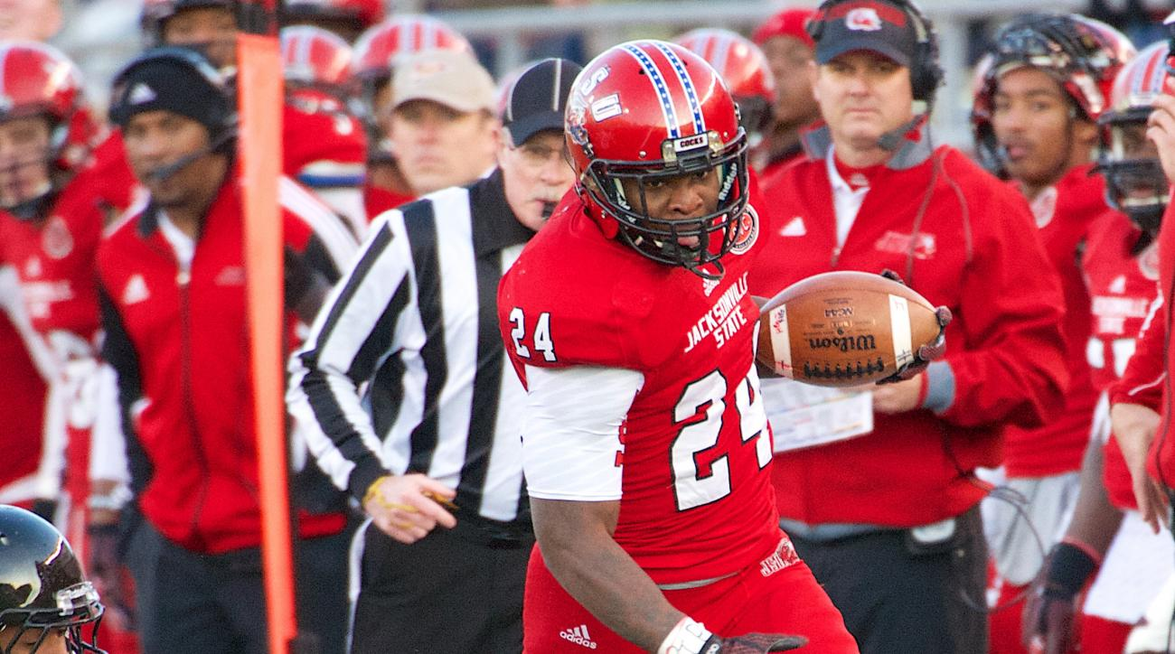 The Jacksonville State University Gamecocks defeat the Panthers of Eastern Illinois 27-20 to claim the Ohio Valley Conference championship and an automatic bid to the NCAA FCS football playoffs.  ..Jacksonville State Gamecocks running back Troymaine Pope