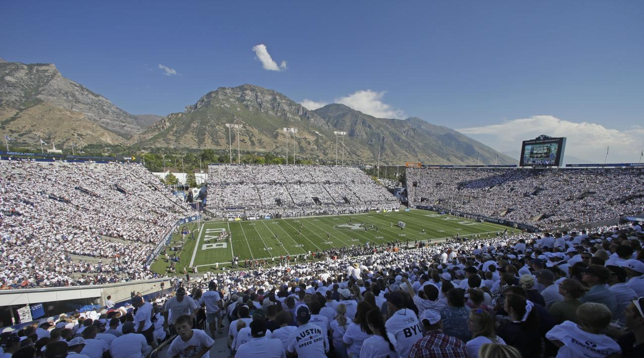 LaVell Edwards Stadium is viewed in the second half during an NCAA college football game between BYU and Virginia, Saturday, Sept. 20, 2014, in Provo, Utah. (AP Photo/Rick Bowmer)