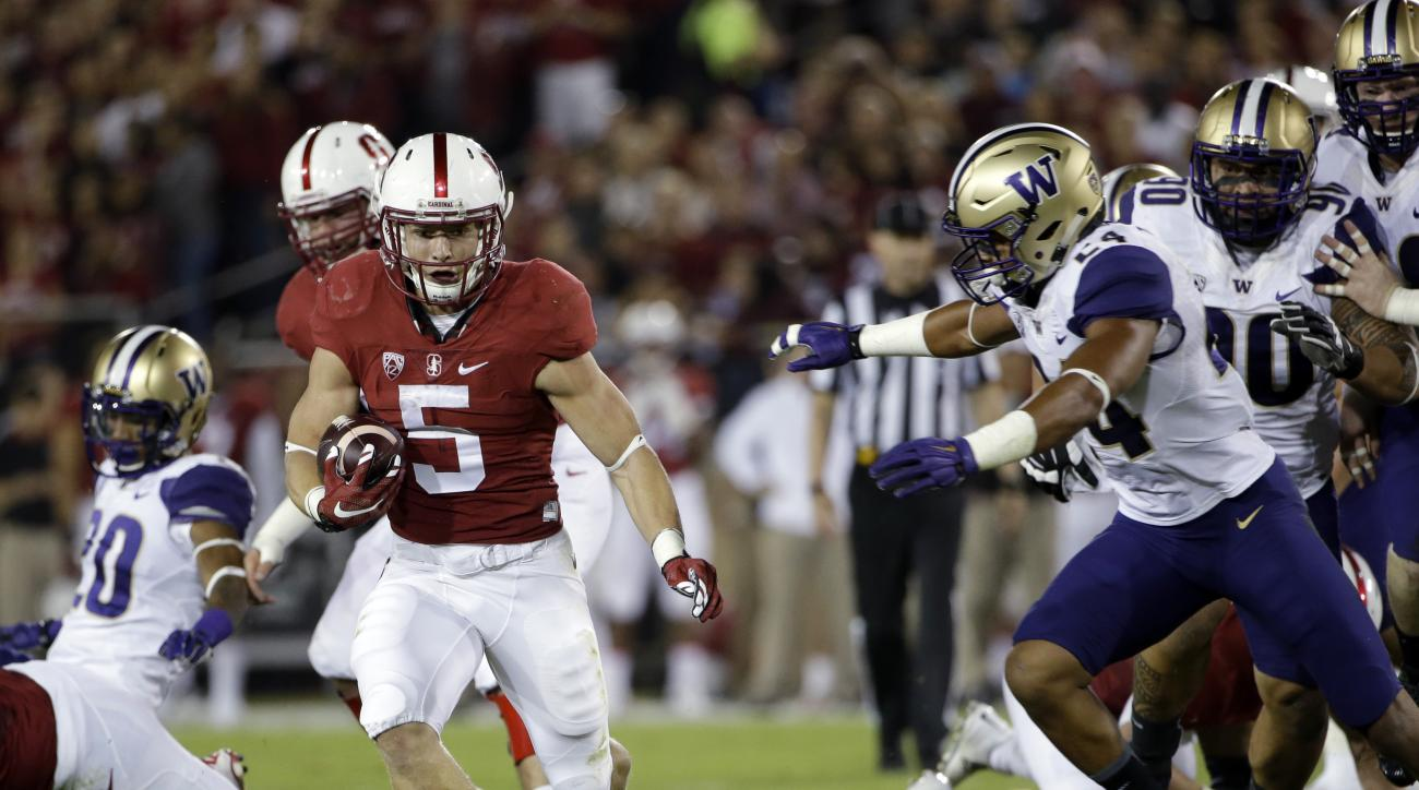 Stanford running back Christian McCaffrey runs against Washington during the first half of an NCAA college football game Saturday, Oct. 24, 2015, in Stanford, Calif. (AP Photo/Marcio Jose Sanchez)