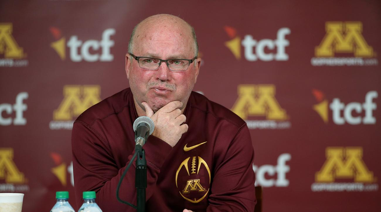 University of Minnesota NCAA college football coach Jerry Kill becomes emotional as he speaks during a press conference Wednesday, Oct. 28, 2015, at TCF Bank Stadium in Minneapolis, Minn. Minnesota coach Jerry Kill abruptly retired because of health reaso