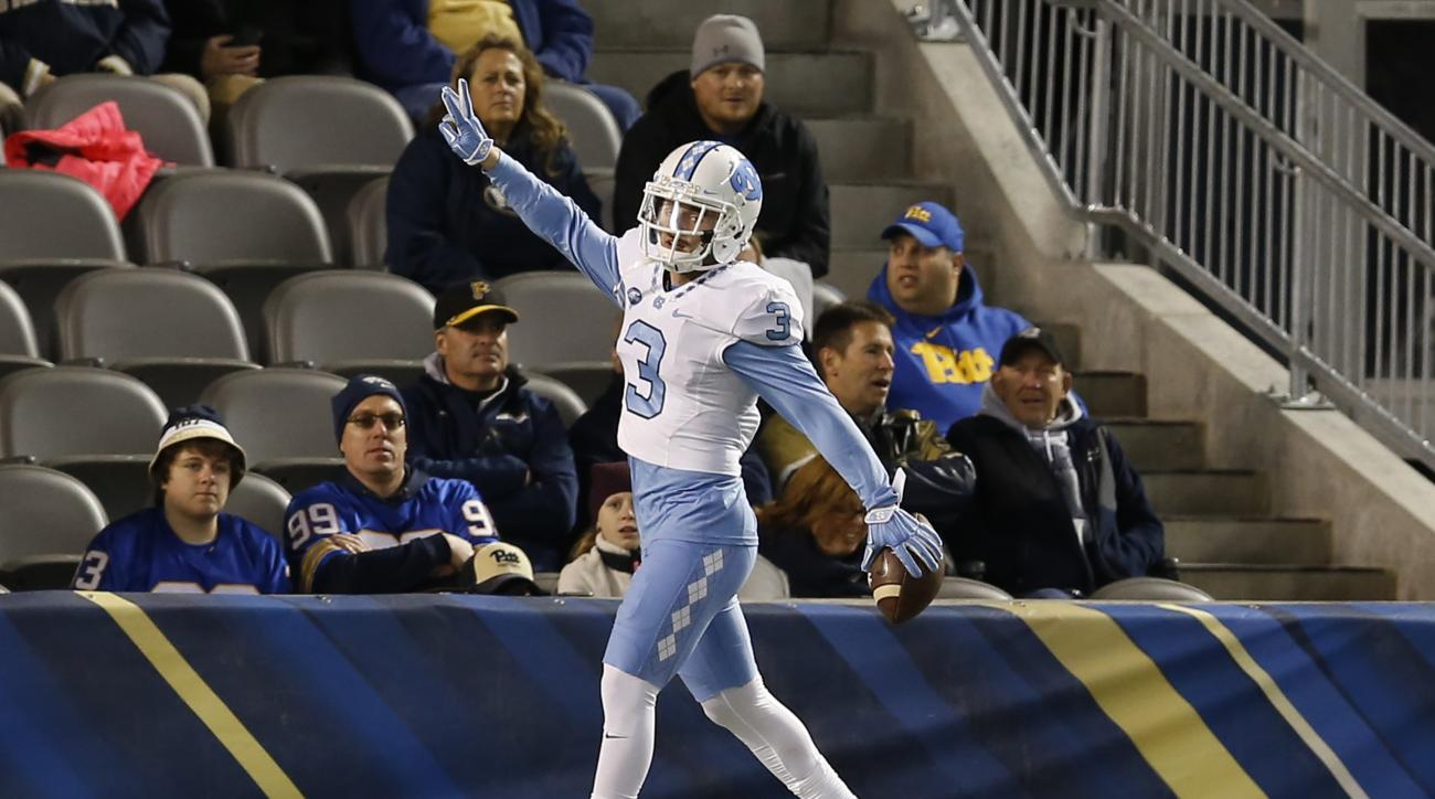 North Carolina wide receiver Ryan Switzer (3) celebrates in the end zone after running in for a touchdown after catching a pass in the second quarter of an NCAA college football game against Pittsburgh, Thursday, Oct. 29, 2015, in Pittsburgh. (AP Photo/Ke