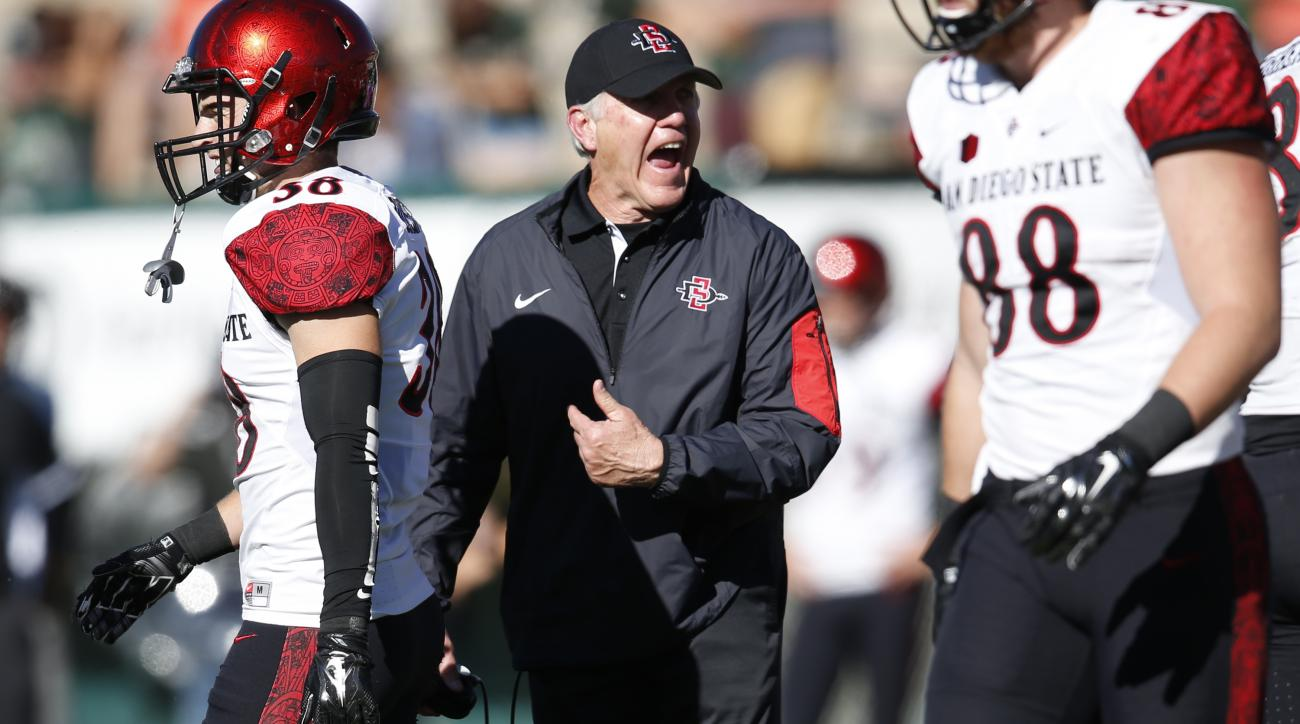 San Diego State head coach Rocky Long directs his team against Colorado State in the first half of an NCAA college football game, Saturday, Oct. 31, 2015, in Fort Collins, Colo. (AP Photo/David Zalubowski)