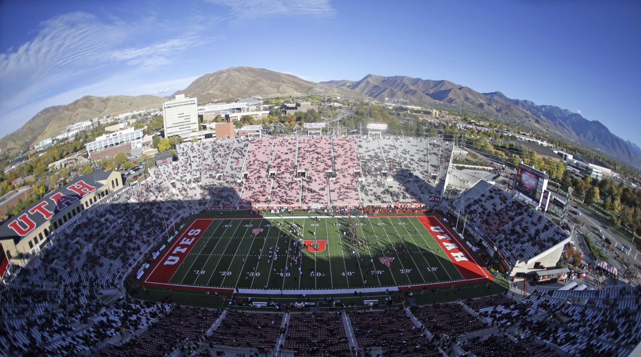 Utah's Rice-Eccles Stadium is viewed before an NCAA college football game between Oregon State and Utah, Saturday, Oct. 31, 2015, in Salt Lake City. (AP Photo/Rick Bowmer)