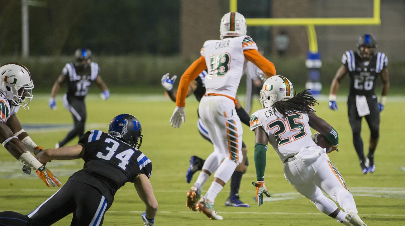 Miami's Dallas Crawford (25) returns a kickoff,  which featured multiple laterals before Corn Elder subsequently received the final lateral, and scored to beat Duke 30-27 in an NCAA college football game, in Durham, N.C., Saturday, Oct. 31, 2015. (AP Phot