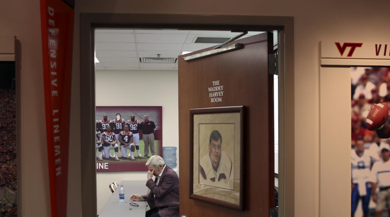 Virginia Tech NCAA college head football coach Frank Beamer pauses for a moment after speaking during a press conference on the Virginia Tech campus in Blacksburg Va., Monday Nov. 2 2015. Beamer has decided this will be his last season as Virginia Tech's