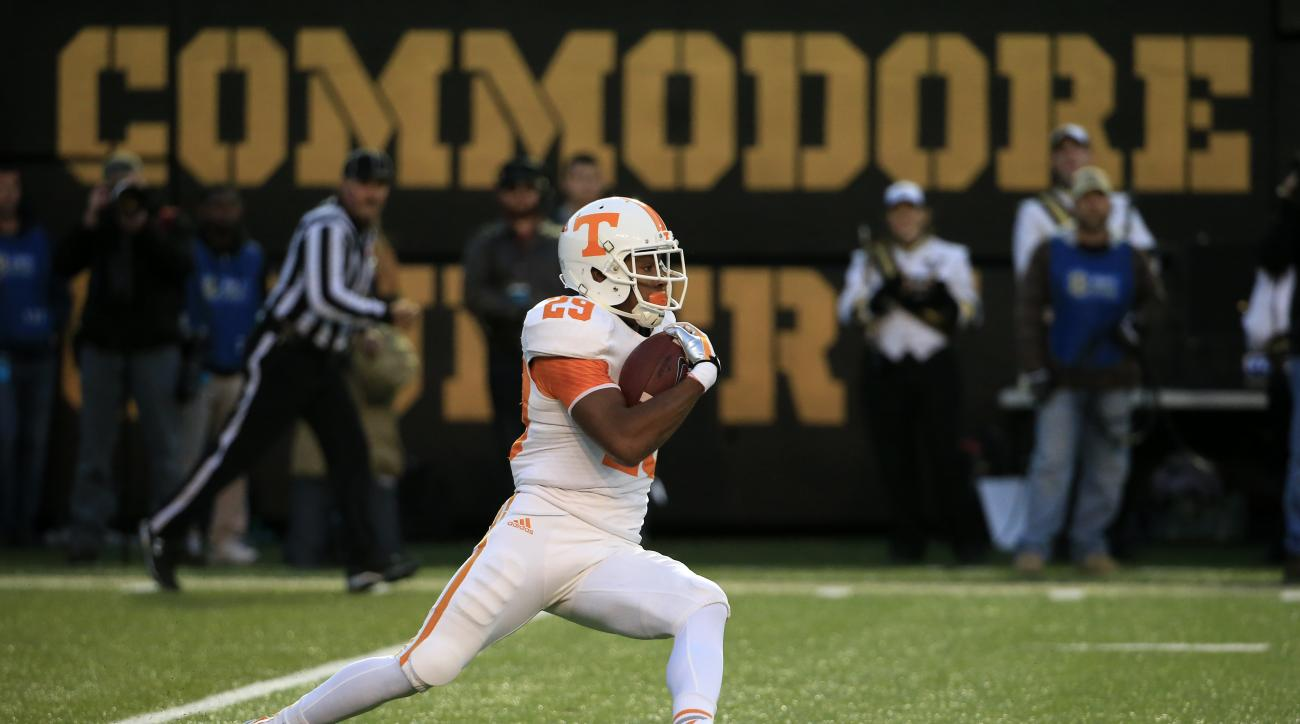 FILE - In this Nov. 29, 2014, file photo, Tennessee's Evan Berry returns a kick in the second quarter of an NCAA college football game against Vanderbilt, in Nashville, Tenn. As the nation's leading kickoff returner, the younger brother of Kansas City Chi