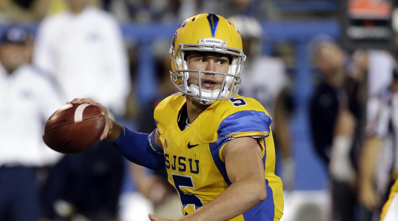 San Jose State quarterback Kenny Potter (5) throws against BYU during the first half of an NCAA college football game Friday, Nov. 6, 2015, in San Jose, Calif. (AP Photo/Marcio Jose Sanchez)