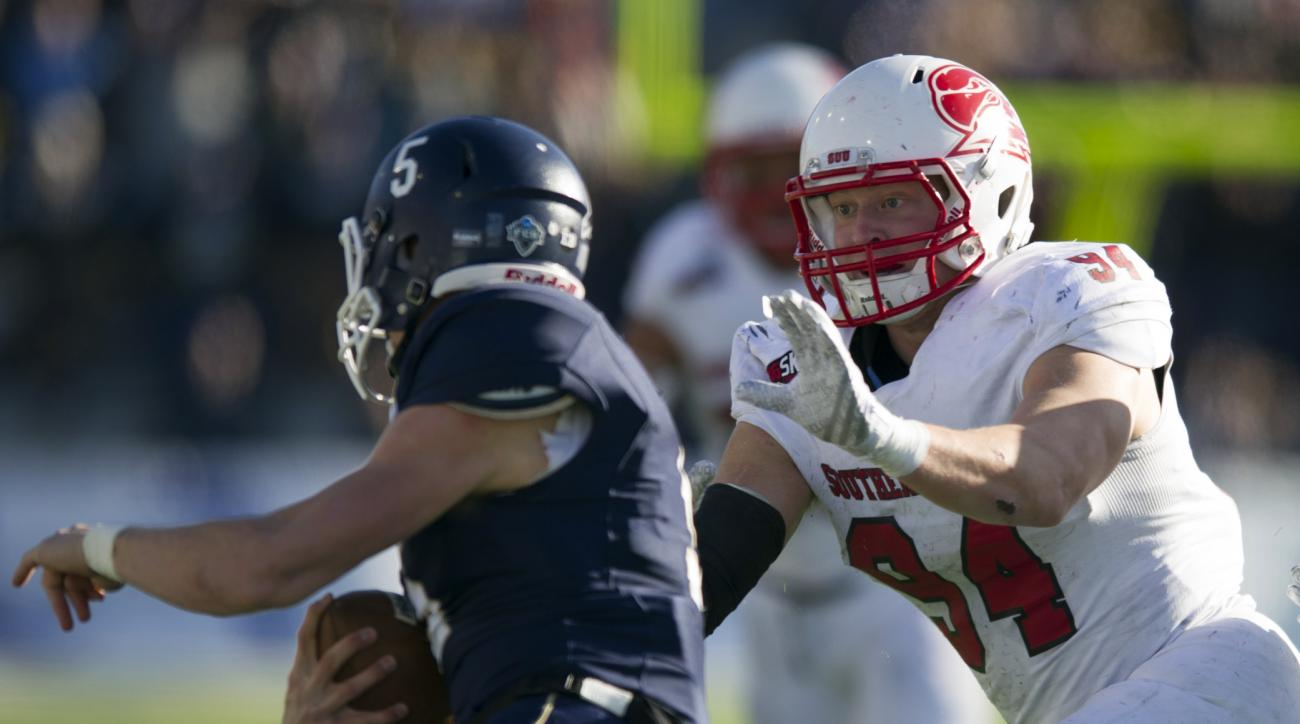 In this photo provided by Montana State University, Montana State quarterback Dakotah Prukop (5) attempts to elude Southern Utah linebacker Taylor Nelson (9) during the first half of an NCAA football game, Saturday, Nov. 7, 2015 in Bozeman, Mont. (Kelly G
