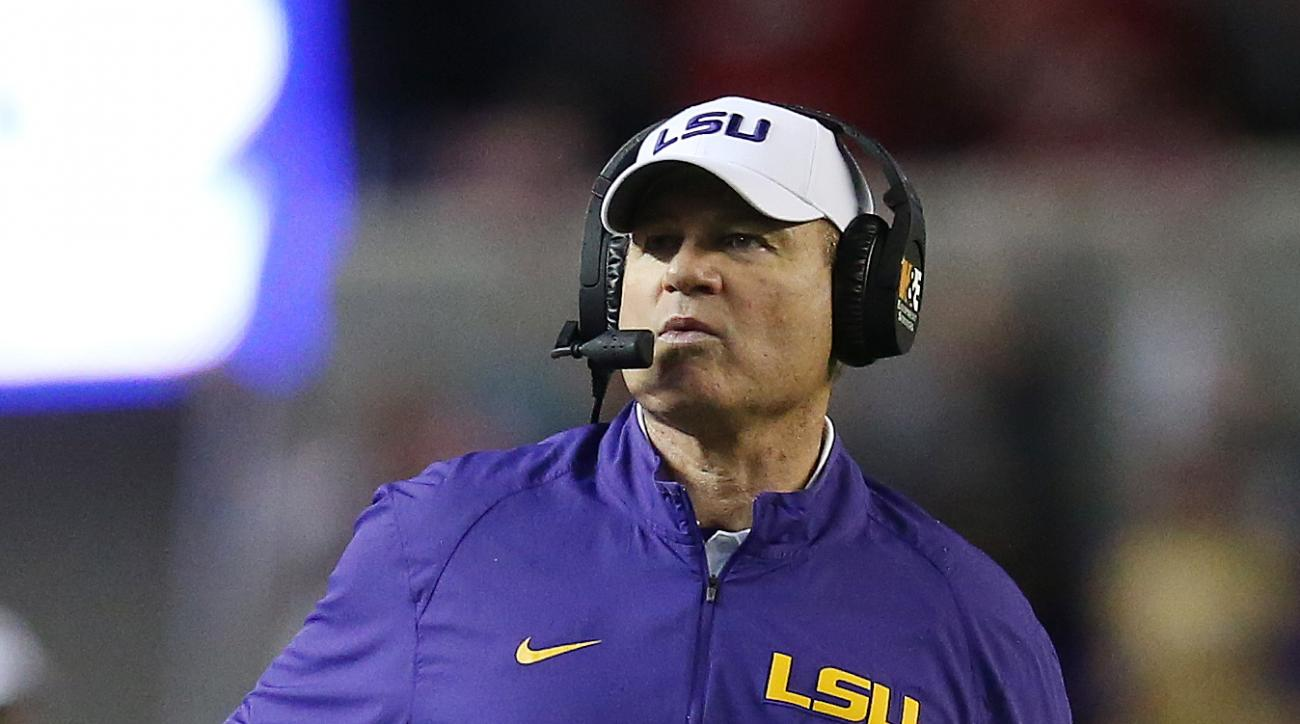 LSU head coach Les Miles watches play against Alabama in the first half of an NCAA college football game Saturday, Nov. 7, 2015, in Tuscaloosa , Ala. (AP Photo/John Bazemore)